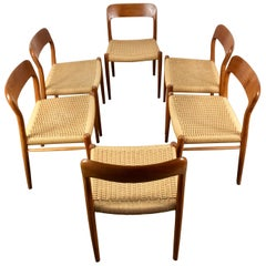 Classic Set 6 Teak and Cane Dining Chairs, Niels Moller Model 75, Denmark