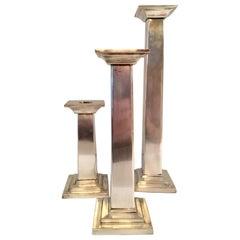 Set of Three Silver Plate Column Candlesticks