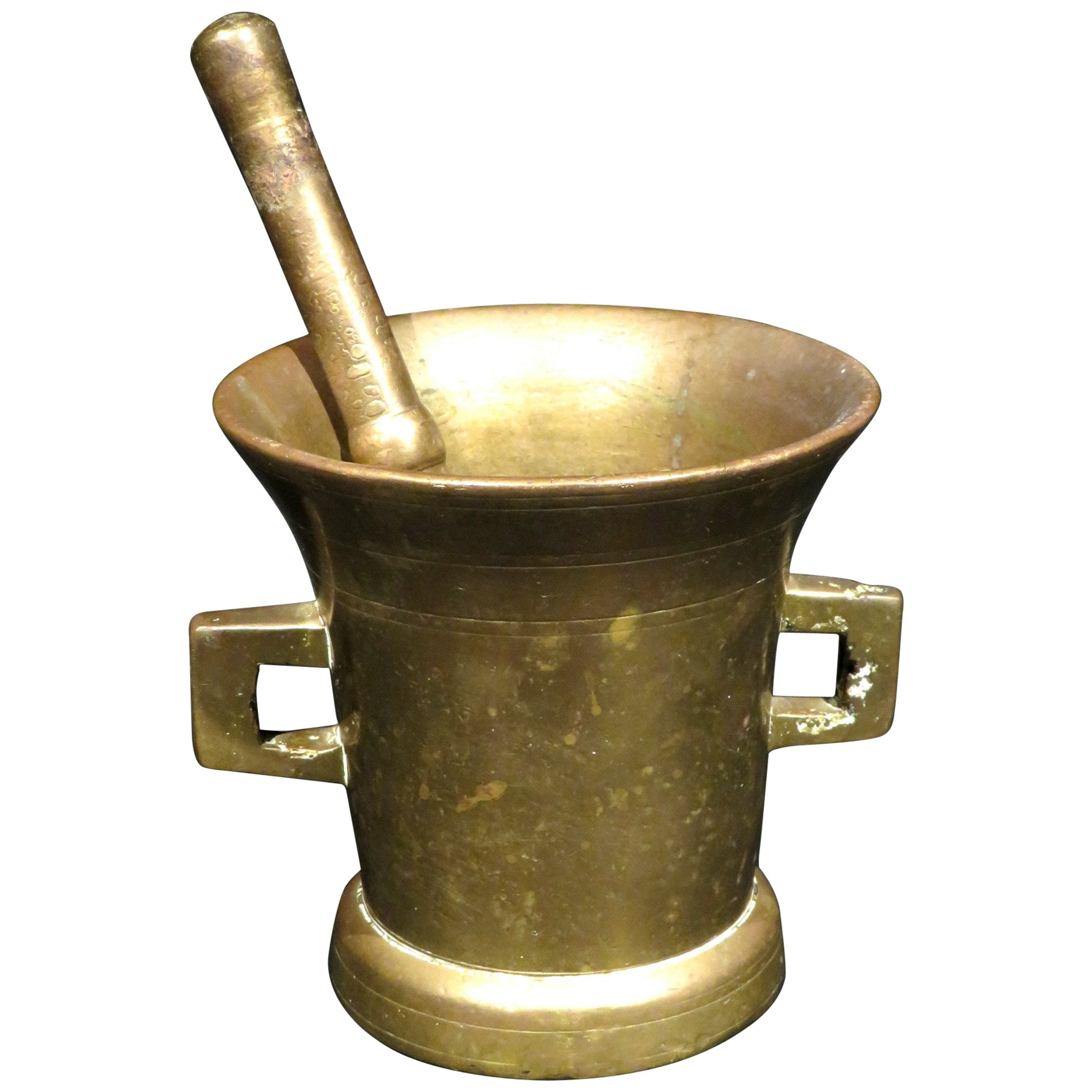 Early 19th Century Bronze Apothecary Mortar and Pestle, Continental Circa 1820