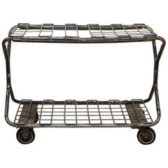Early 20th Century Factory Wire Metal Rolling Cart, circa 1930-1940s