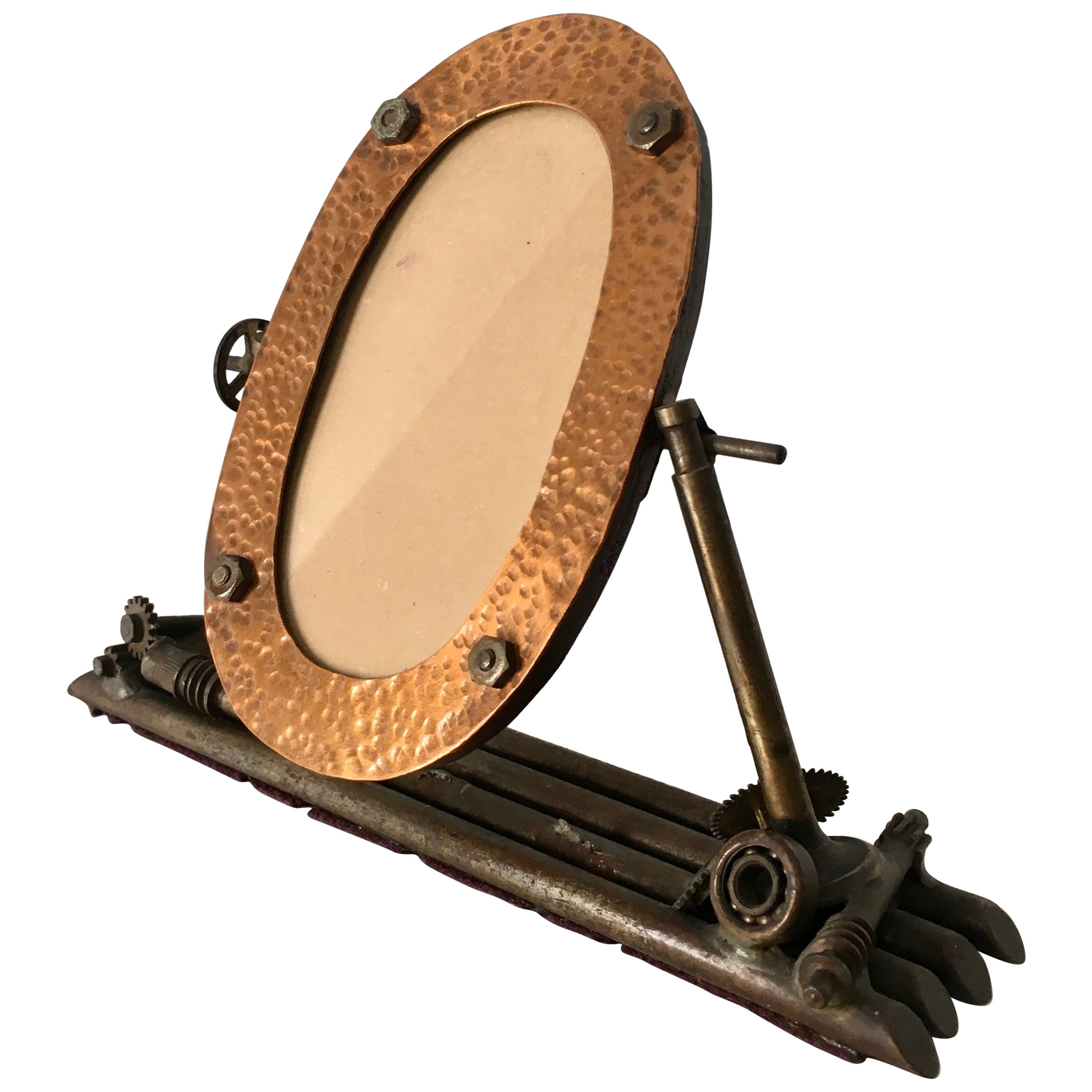 Folk Art Oval Copper Picture Frame, 1934