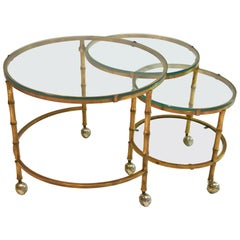 Swivel Coffee or Cocktail Table in Brass with a Bamboo Design, USA, circa 1970