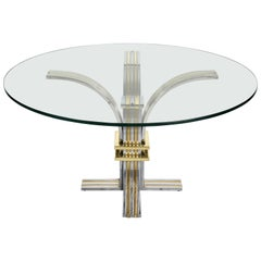 Brass and Chrome Steel Round Glass Italian Dining Table by Banci Firenze 1970s