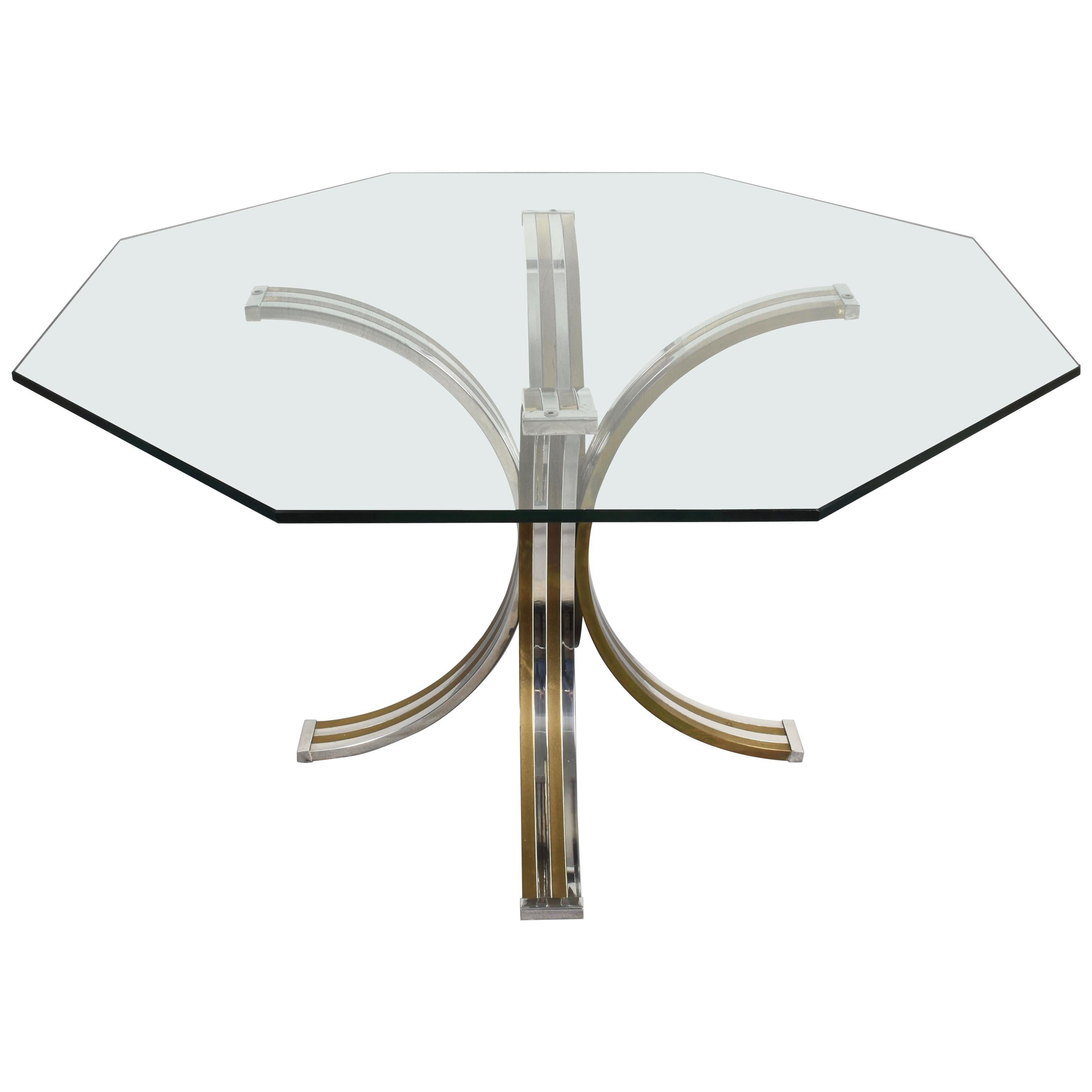 Brass and Chrome Octagonal Glass Italian Dining Table after Romeo Rega, 1970s