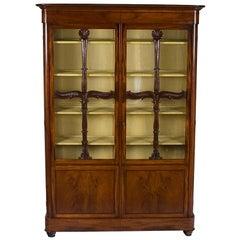 French Empire Style Mahogany Bookcase China Display Cabinet