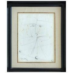 Cuban Artist Rolando López Dirube Abstract Pencil Sketch, 1987