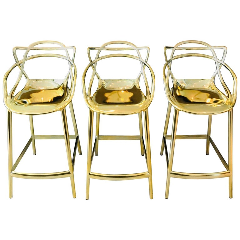 Masters Bar Stools In Metallic Gold by Kartell, Set of Three For Sale