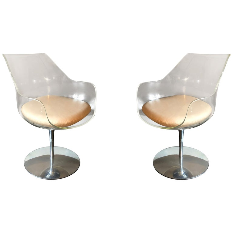 """Pair of Clear """"Champagne"""" Chairs by Erwine & Estelle Laverne, USA, circa 1968 For Sale"""
