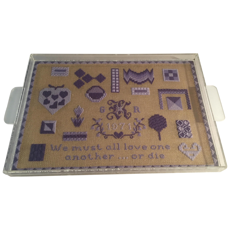 Folk Art Acrylic Tray with Needlepoint Insert, 1971