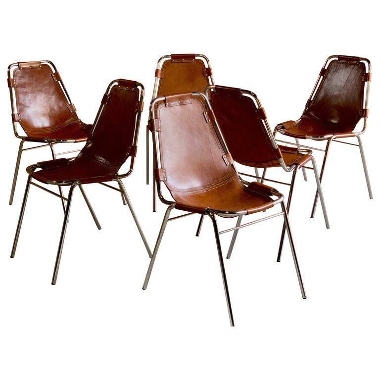 Les Arcs Dining Chairs Leather, Set of Six, 1960s For Sale