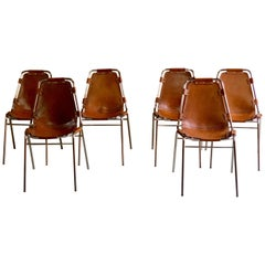 Les Arcs Dining Chairs Leather, Set of Six, 1960s