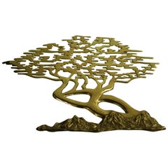 Vintage Brass Bonsai Wall Sculpture, 1960s