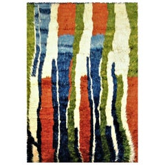 21st Century Green Blue Red and White Nomadic Afghan Rug, circa 2010s