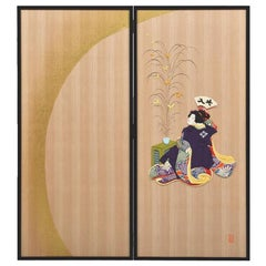 Large Japanese Contemporary Silk and Brocade Handcrafted Decorative Art