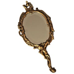 Late 19th Century French Art Nouveau Gilt Bronze Faceted Nostalgia Hand Mirror