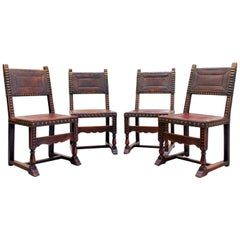 Four Monastic Chairs Antique Armchair Leather Vintage Chairs Rivets Old Span