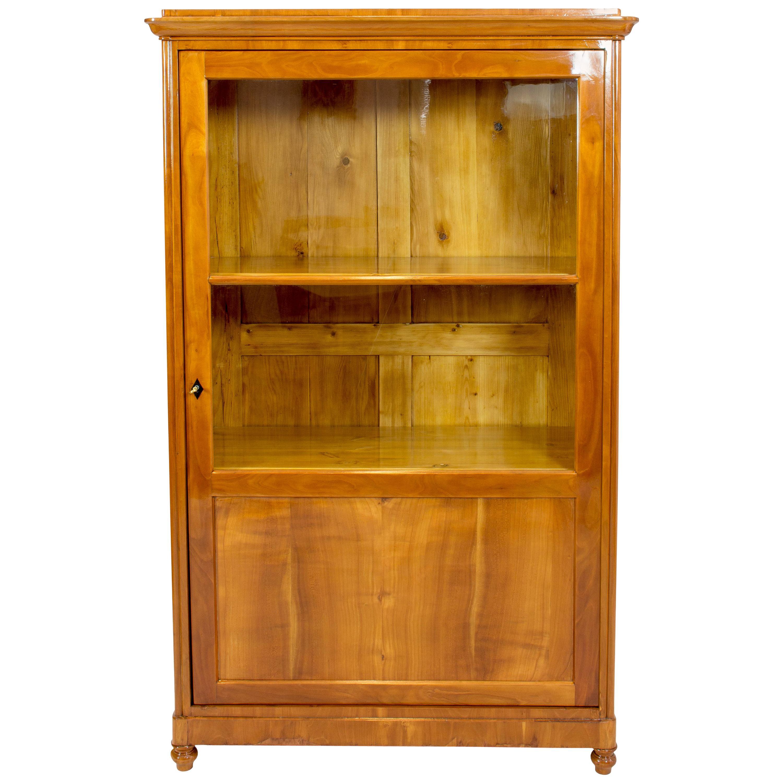 19th Century Biedermeier Cherry Showcase Cabinet / Vitrine