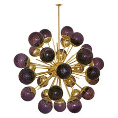 Mid-Century Modern Style Sputnik Murano Glass and Brass Italian Suspension Lamp