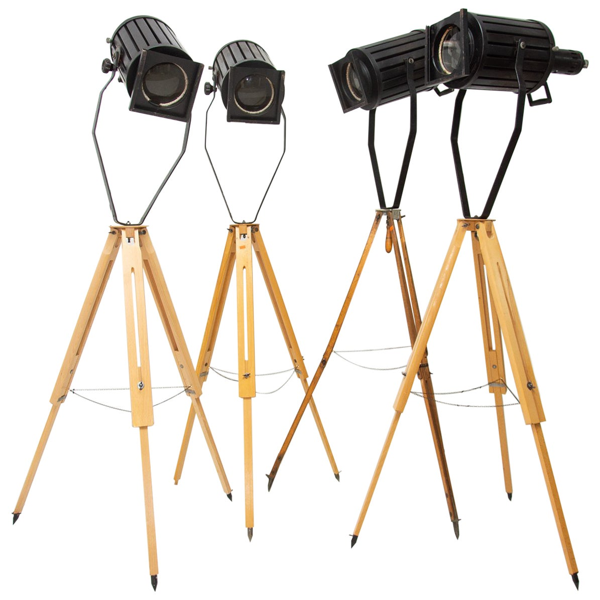 Industrial Spot Light Tripod Movie Floor Lamps, 1960s, Set of 4