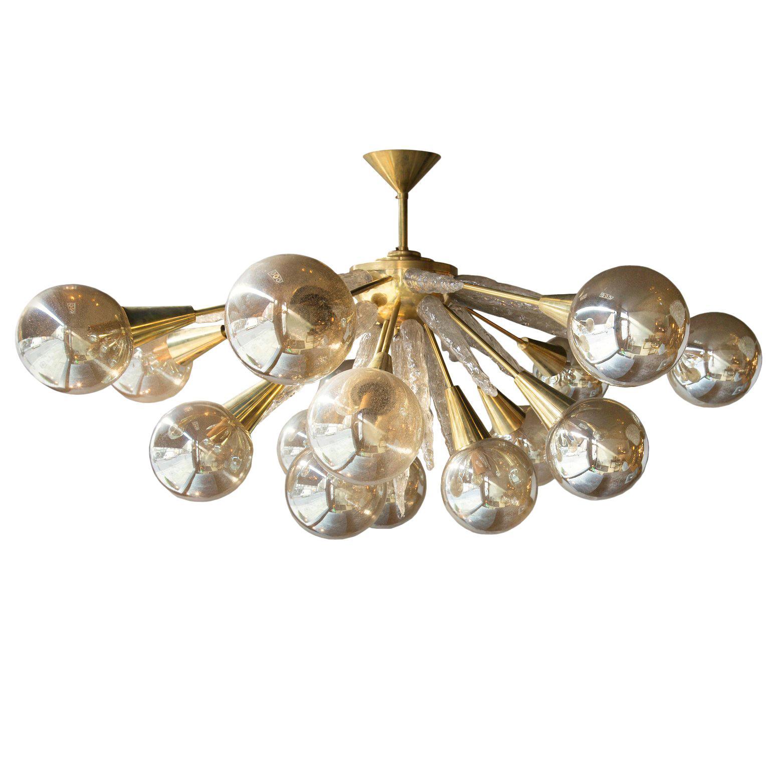 Handcrafted Murano Glass Half Sputnik Chandelier