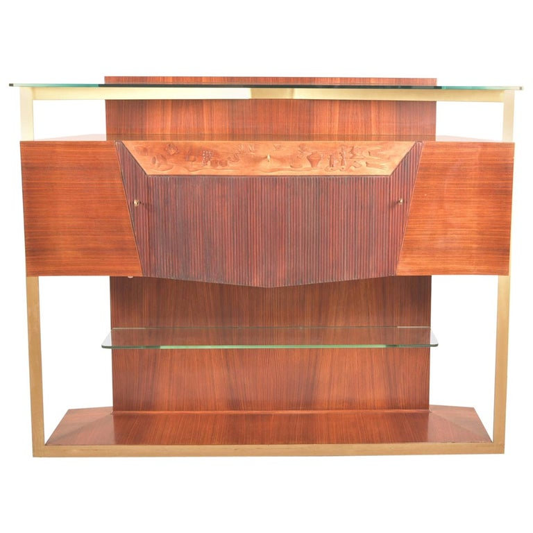 Italian Midcentury Rosewood Sideboard or Bar Cabinet by Vittorio Dassi, 1950s For Sale