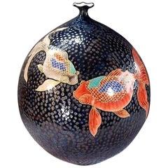 Large Japanese Gilded Hand Painted Black Red Ceramic Vase by Master Artist