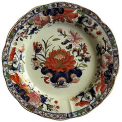 Mason's Ironstone Dish or Deep Plate Water Lily Pattern, Impressed Mark Ca. 1815