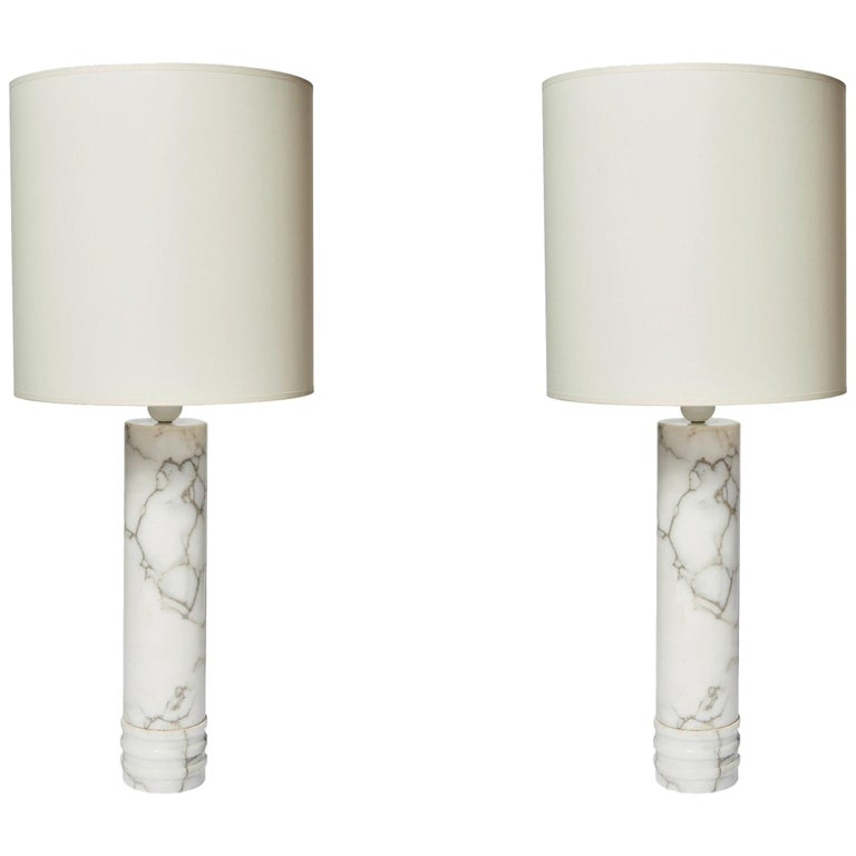 Pair of Bergboms Marble Lamps For Sale