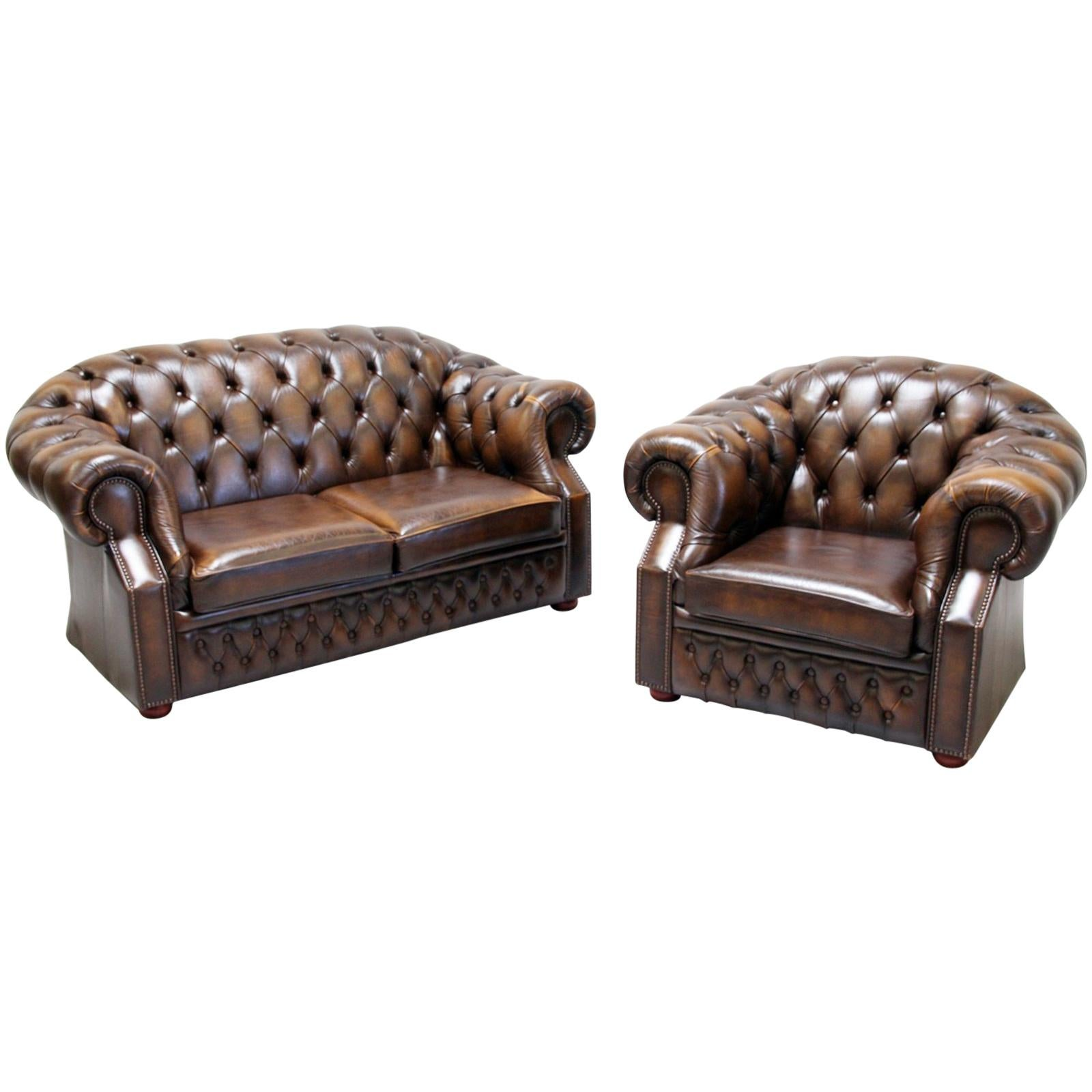 Chesterfield Sofa Set Armchair Genuine Leather Couch Antique