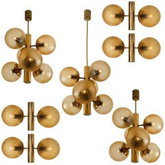 Set of 9 Molecular Chandeliers and 4 Wall Lights, Brass Amber Glass, 1960s