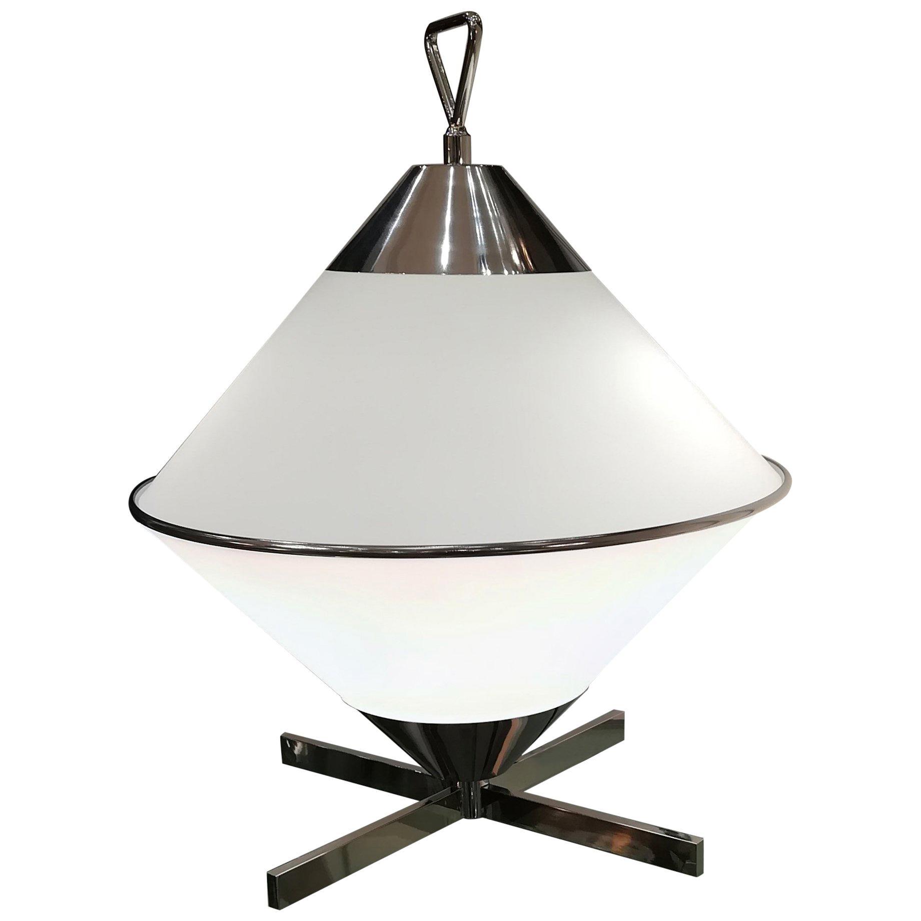 2000s Design Opaline and Chromium Table Lamp