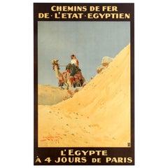 Original Antique Railway Travel Poster Egypt 4 Days Paris Chemins De Fer Egypte