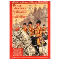 Original Antique Railway Poster Travel by Train Paris London Buckingham Palace