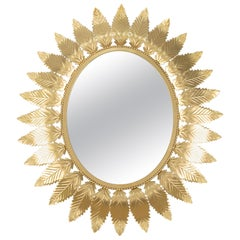 Mid-Century Modern Golden Steel Mirror in the Shape of Sun and Leaves, Spain