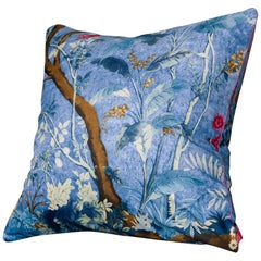 'Vintage Cushions' Luxury Bespoke Silk Pillow 'Paradiza Foresta' Made in London