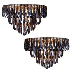 Pair of Spectacular Tiered Bronze and Smoked Rock Crystal Chandeliers