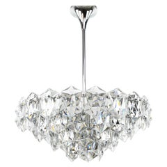 Four-Tier Crystal and Steel Chrome Chandelier by Kinkeldey, Germany, 1970