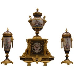 French Ormolu-Mounted Jeweled Sèvrres Porcelain Clock Set