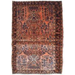 Handmade Antique Sarouk Style Rug, 1920s, 1B747