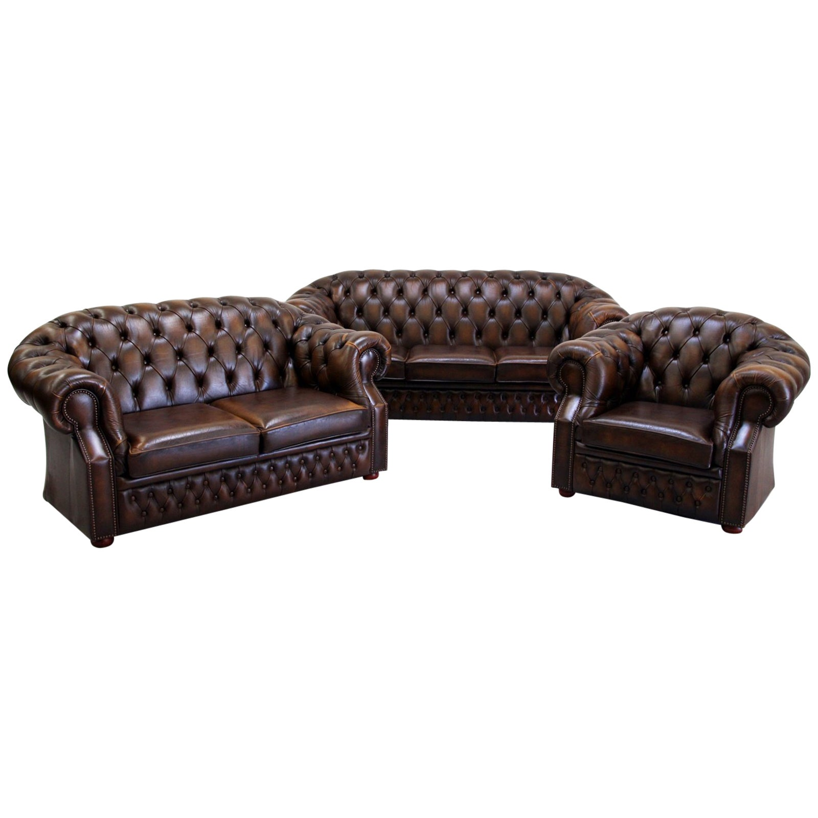 Chesterfield Sofa Set Armchair Genuine Leather Couch Antique ...