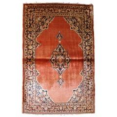 Handmade Antique Sarouk Style Rug, 1920s, 1B750