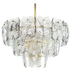 Midcentury Murano Ice Glass Chandelier Attributed J. T. Kalmar, Austria 1960