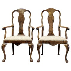 Four Chippendale Armchairs Queen Anne Chairs Baroque Antique Old