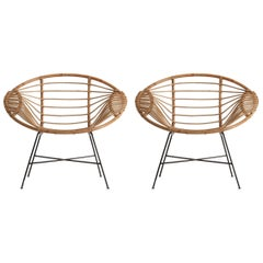 Pair of Rattan and Metal Armchairs