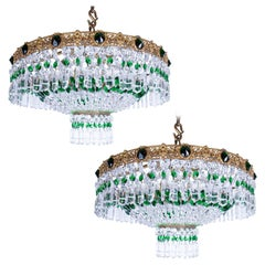 Pair of Beautiful Russian Green and Crystal Chandeliers