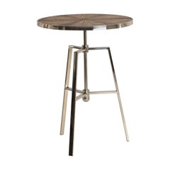Patina Round Wooden Tray and Chrome Metal and High Table
