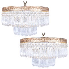 Pair of Beautiful Clear Crystal French Chandeliers from the Milan Savoy Hotel
