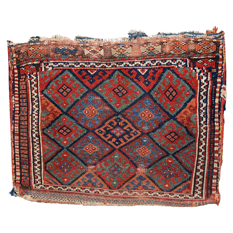 Handmade Antique Kurdish Style Rug, 1880s, 1C451