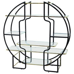 Large Hollywood Regency Circular Étagère or Vitrine in Brass and Black