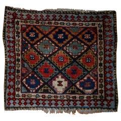 Handmade Antique Jaf Kurdish Style Rug, 1880s, 1B565